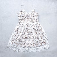 final sale - fit & flare floral crochet dress with nude lining - white
