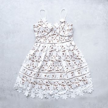 fit & flare floral crochet dress with nude lining - white