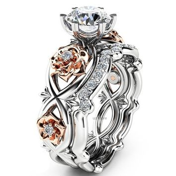 New Women Fashion Two Tone 925 Sterling Silver & Rose Gold Filed White Sapphire Wedding Engagement Floral Ring Set