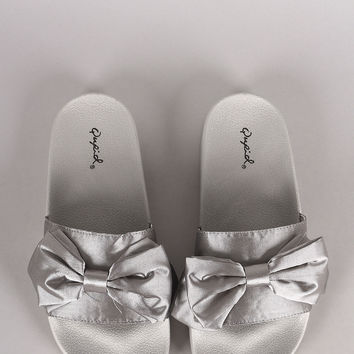 Qupid Satin Bow Accent Slide Sandal | UrbanOG