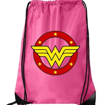 "Drawstring Gym Bag  ""Wonder Woman""  Funny Workout Squatting Gift"