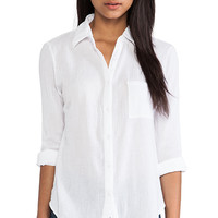 Bobi Collared Button Down Shirt in White
