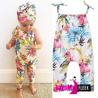 Adorable Infant Baby Girls Clothing Floral Romper Jumpsuit. Sleeveless Flower Cute Sunsuit Clothes Baby Girl 0-24M