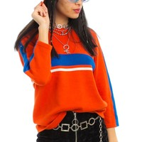 Vintage Y2K Orange You Glad Stripe Sweater - One Size Fits Many