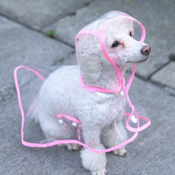Transparent Dog Raincoats Small Teddy Dog Wear Waterproof Rain Cape New