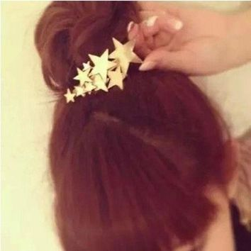 PEAPGC3 1 PCS Star Hair Clip Barrettes Hairpin Bobby Pin Jewelry Hair Accessories for Women Lady Girls Gold/ Silver color