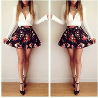 Floral Print Couture Dress