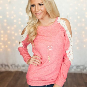 Coral Open Lace Shoulder Top