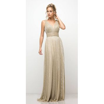 Gold Ruched V-Neck and Back Pleated Long Formal Dress