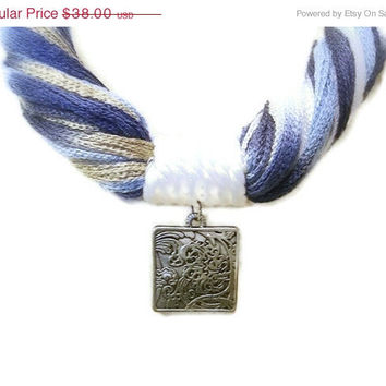 ON SALE 50% off - Blue Fiber Statement Necklace, Summer Multicolor Yarn, Navy, White, Engraved Square Antique Silver Pendant, Large Lobster