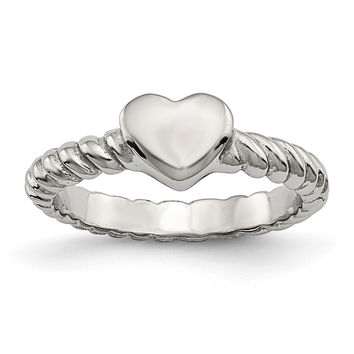 Stainless Steel Polished Twisted Heart Ring