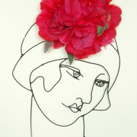 wire wall sculpture - art - black - flapper - woman profile