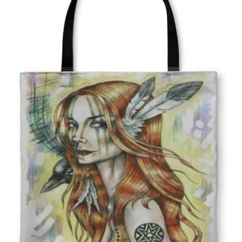 Tote Bag, Portrait of Indian Girl With Feathers and Raven on Her Shoulder