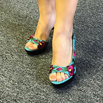 Mexican Embroidered High Heels Turquoise & Pink