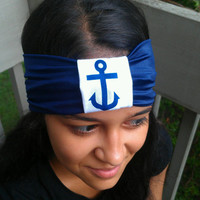 Anchor blue spandex headband