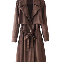 Coffee Lapel Single-Breasted Tie Waist Faux Suede Trench Coat