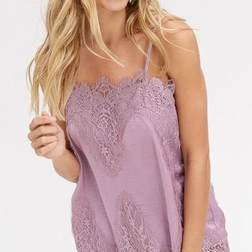 Satin Camisole With Lace Trim in Mauve