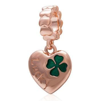 925 sterling silver Four Leaf Clover Heart Pendant Charms With Rose Gold Plate Fit Pan
