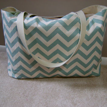 Extra large Beach bag, beach tote, tote, in Village Blue and natural chevron print