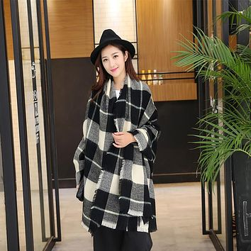 Winter Plaid Scarf for Women Warm Cashmere Stole Brand Shawl and Thick  Wool Blanket and Wraps