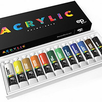 12 Piece Acrylic Paint Set. Voted #1 Best Paint Supplies - Professional Artist Quality Painting Set with the Highest Pigment Loads! Perfect Gift or Art Supplies Kit for Artists, Adults, Kids