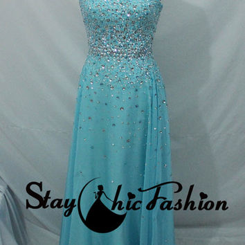 Sparkly Blue Long Chiffon Prom Dress 2015, Blue Strapless Rhinestone Beading Evening Dress Sale