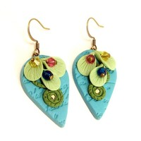 Floral Dangle Earrings, Polymer Clay Jewelry, Turquoise Aqua