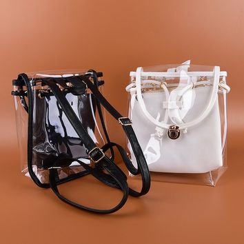 Sweet jelly woman clear transparent school bag pvc fashion backpack Jewellery.Garden