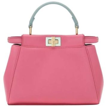 Fendi New Peekaboo Micro Leather Satchel Pink Tote Bag 15% off retail