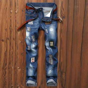 Men Ripped Holes Slim Strong Character Embroidery Pants Jeans [1922680193117]