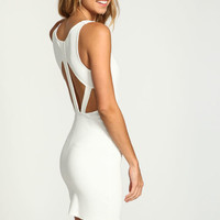 IVORY CAGE CUT OUT BODYCON DRESS
