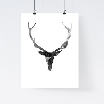 Deer art print, deer antlers watercolor, deer painting, simple, minimal home wall decor, modern art print, scandinavian, antler illustration