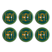 Hey Casual Hello Greeting Plastic Resin Button Set of 6