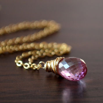NEW Real Pink Topaz Necklace, Gold Filled, Wire Wrapped Pendant, Mystic Semiprecious Gemstone Jewelry, Orchid Teardrop, Free Shipping