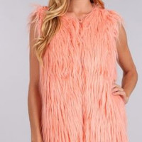 Long faux fur vest with hook and eye closures