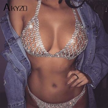 AKYZO 2017 Summer Luxury Rhinestone Crop Top Shining Fashion Handmade Metal Adjustable Chains Backless Vest Sexy Beach Tank Tops