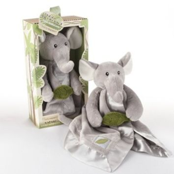 Baby Elephant Plush Rattle Lovie with Crinkle Leaf by Baby Aspen