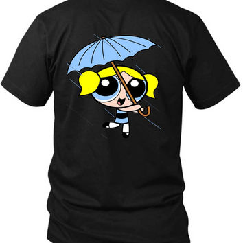 The Powerpuff Girls Blue Umbrella 2 Sided Black Mens T Shirt