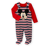 Disney Baby Boys 2 Piece Mickey Mouse Black/Red Long Sleeve Top and Striped Footed Overall Set