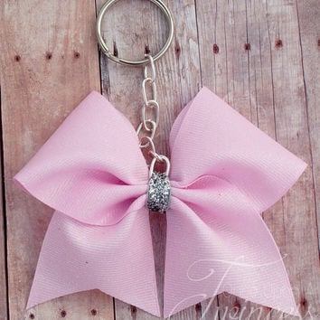 Cheer Bow Keychain Light Pink - gifts for cheer teams - gifts for girls - Cheer mom gifts - gifts under 10