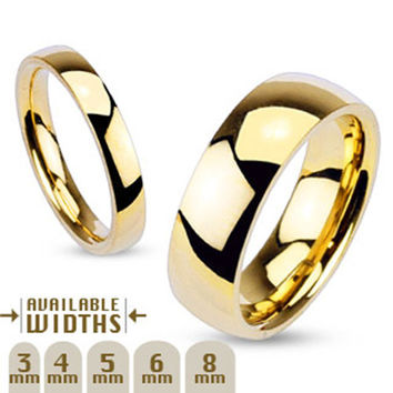 3mm Glossy Mirror Polished Gold IP Traditional Wedding Band 316L Stainless Steel