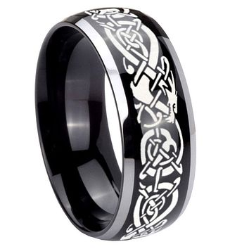 10mm Celtic Knot Dragon Dome Glossy Black 2 Tone Tungsten Mens Promise Ring