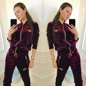 Nike Autumn Winter Fashion Women Casual Long Sleeve Sweater Pants Sweatpants Set Two-Piece Sportswear Burgundy