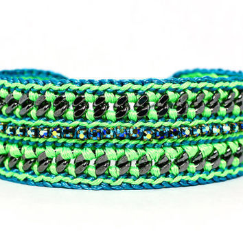 Summer Breeze Neon Green and Blue Designer by GetShackled on Etsy