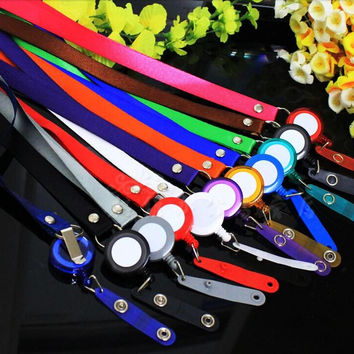 1pcs Many Colors Retractable Lanyard Neck Strap for Business ID Card Name Badge Holders with High Quality Badge Reel