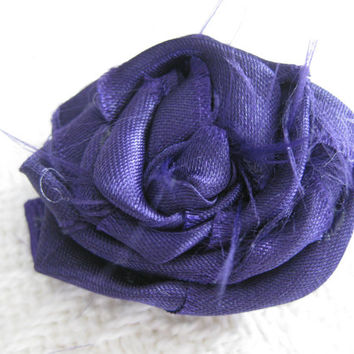 Purple Satin Fabric Rosette on Purple Ribbon Hair Clip