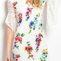 FLORAL LACE SHEER SLEEVES DRESS