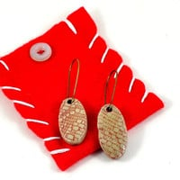 Ceramic Earrings Handmade Jewellery Red Oval with Lace Imprint presented in a Handmade Gift Pouch