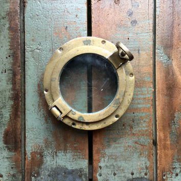 Antique Porthole, Small Brass Porthole, Porthole Window, Nautical Decor