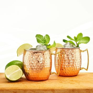 16 Oz. Two-Ply Solid or Hammered Copper and Stainless Steel Moscow Mule Mugs Set of 2